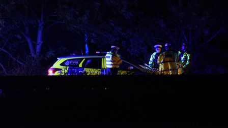 Police at the scene of an accident at the Ketteringham junction Norwich bound on the A11. Picture: D