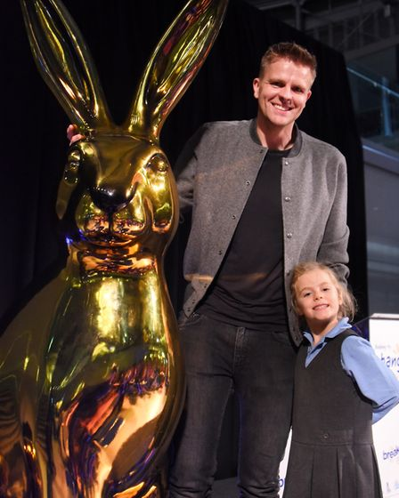 Patron Jake Humphrey with his daughter, Florence, and Osc-Hare, at the Break charity's GoGoHares auc