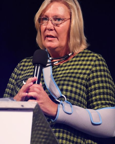 Hilary Richards, chief executive, speaks at the Break charity's GoGoHares auction. Picture: DENISE B