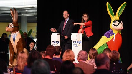 Auctioneers, Elizabeth Talbot and Mike Sarson of TW Gaze, at the Break charity's GoGoHares auction.