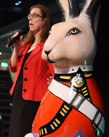 Auctioneer Elizabeth Talbot of TW Gaze, with Marching Hare, at the Break charity's GoGoHares auction