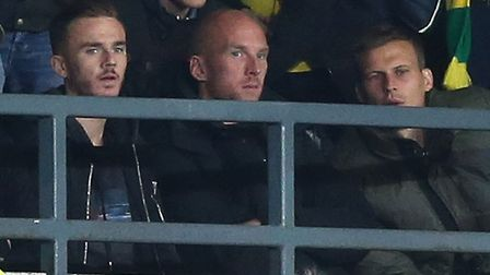 From left, former Canaries players James Maddison, John Ruddy and Ryan Bennett watched the recent 1