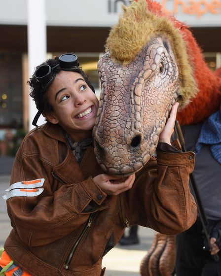 Juliet the Segnorsaurus with her guide Elizabeth Mary Williams on walkabout at Chapelfield Plain fro