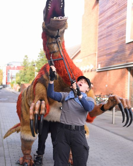 Juliet the Segnorsaurus on walkabout at Chapelfield Plain from the Theatre Royal. Picture: DENISE BR