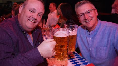 Nick Scrivens, left, and Chris Price at the Norwich Oktoberfest at the Open. Picture: DENISE BRADLEY