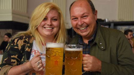 Martin Porter and his daughter Grace at the Norwich Oktoberfest at the Open. Picture: DENISE BRADLEY