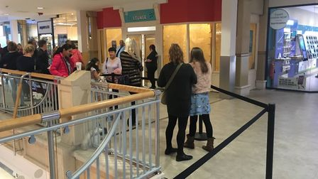 Queue of people waiting to audition for Britain's Got Talent at Castle Mall in Norwich. PIC: Peter W