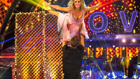 Pasha Kovalev and Ashley Roberts showing their skills Picture: BBC/Guy Levy
