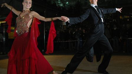 Strictly Come Dancing couple Camilla Dallerup and Ian Waite gave a dancing display outside the Forum