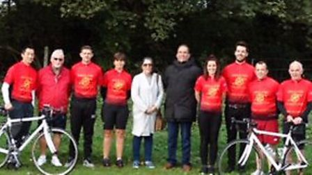 Fran Heaney with the London to Norwich team, preparing for the sponsored bike ride for Great Ormond