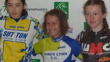 The Under 14 Girls podium at the Welwyn Cyclo-Cross - Florence Barnett (King's Lynn CC, centre). Pic