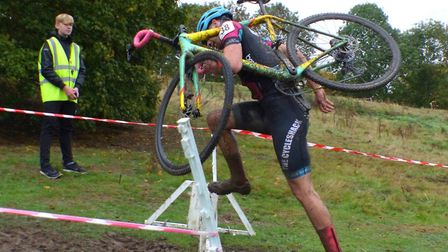Dickleburgh rider Kieran Jarvis vaults his way to fifth place at the Welwyn Cyclo-Cross. Picture: Fe