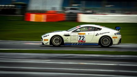 Adam Hatfield racing to the GT Cup overall championship crown in his Aston Martin GT4 at Silverstone