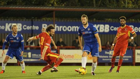 Rossi Jarvis looks for a way through against Needham Market. Picture: Shirley D Whitlow