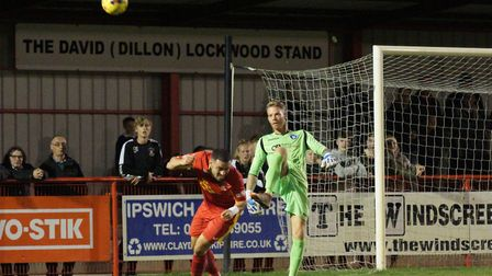 Lowestoft goalkeeper James Bergin tries to clear his lines. Picture: Shirley D Whitlow