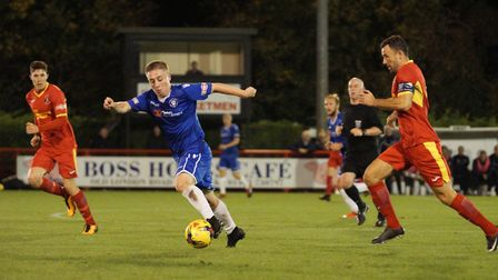 Connor McKendry on the attack during Lowestoft's defeat at Needham Market. Picture: Shirley D Whitlo