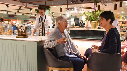 Shoppers enjoying the wine bar and delicatessen area at Jarrolds in Norwich. Picture: DENISE BRADLEY