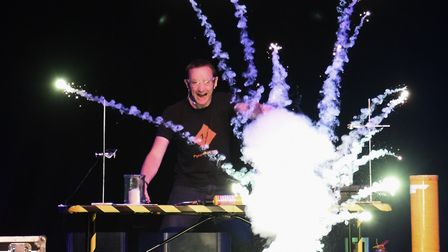 Pyrotechnician Matthew Tosh during his pyrotechnic science show at the Open. Picture: DENISE BRADLEY