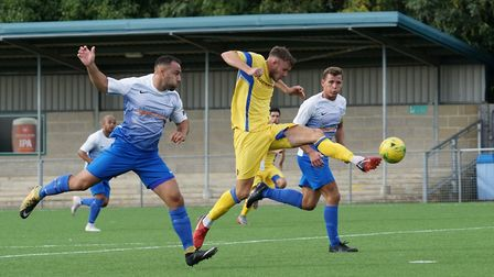 Shaun Bammant saw red for Lowestoft Town in the home defeat by Tamworth Picture: Shirley D Whitlow