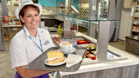 Catering assistant Kay Simmons working in the new James Paget Hospital restuarant Aubergine.Picture: