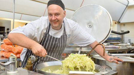 Chef, Herbie Patz working in the James Paget Hospital kitchen.Picture: Nick Butcher