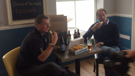David Holliday, left, and Galton Blackiston try out the new beers with fish and chips. Pictures: Dav
