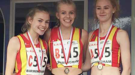 City of Norwich Athletic Club's under-17 women's team, from left, Megan Gadsby, Ellie Taylor and Kat