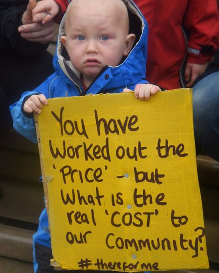 One-year-old Esca Bootman, at the protest at County Hall against the closure of the children's centr