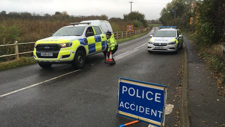 A serious accident has closed the B1077 at Winfarthing. PHOTO: Simon Parkin
