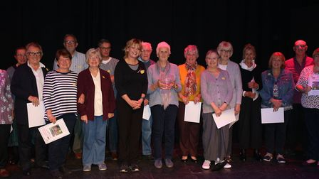 Lesley Pyke with Anne Crosland and other highly commended gardeners at the Halesworth in Bloom award