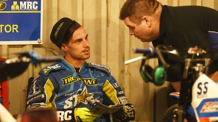 Lynn team boss Dale Allitt with Ty Proctor in the pits Picture: Ian Burt