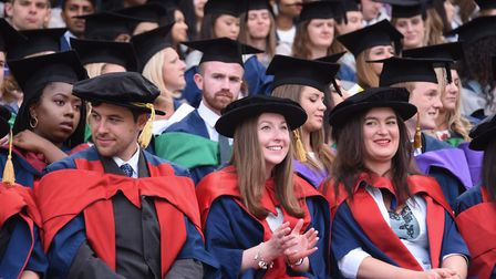 UEA medical students during their graduation ceremony at Norwich City Football Club's ground. Pictur