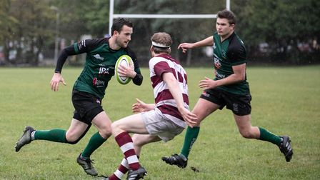 Ben OHickey on the charge for North Walsham against Ruislip. Picture: Hywel Jones