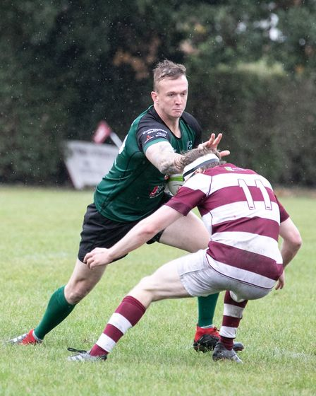 Donavin Dejongh tries to beat his man for North Walsham against Ruislip. Picture: Hywel Jones
