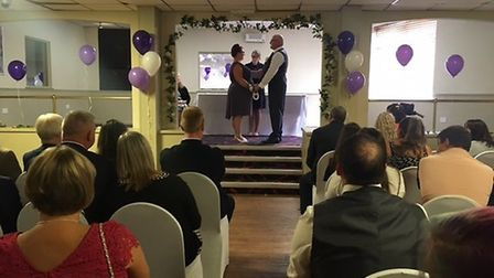 The couple tying the knot. Picture: Harry Rutter