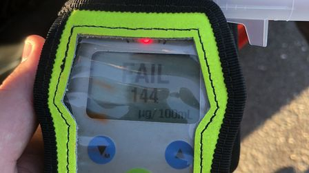 Road side breath test showing positive result at 144mg Photo: Norfolk Constabulary