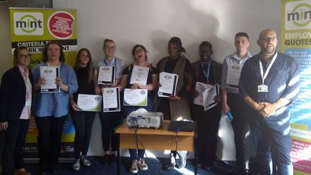 The latest group of young people to complete MINTs hospitality pre-employment programme, L-R: Chelse