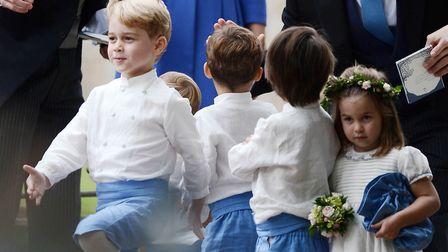 Prince George goes marching!. The Duke and Duchess of Cambridge with Prince George and Princess Char