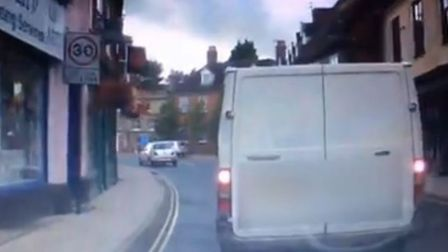 Dashcam screen grab from Bungay town centre