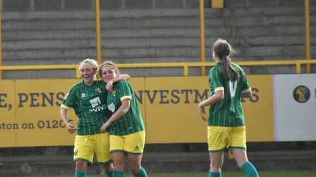 Kyla Love celebrates after scporing scored her fourth Picture: Brian Coombes
