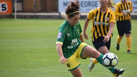 Kyla Love gets the ball under control ahead of the first goal Picture: Brian Coombes