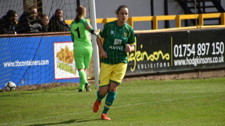 Chelsea Garrett leaves the goalkeeper to pick the ball out of the net Picture: Brian Coombes