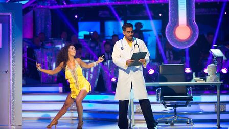 Dr Ranj in a... yes, that is a doctors coat. Despite the stereotyping, his Cha Cha Cha went down wel