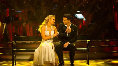 Katie Piper struggled in the middle of her Waltz, giving Gorka a solid stamp on the toe. BBC - Photo