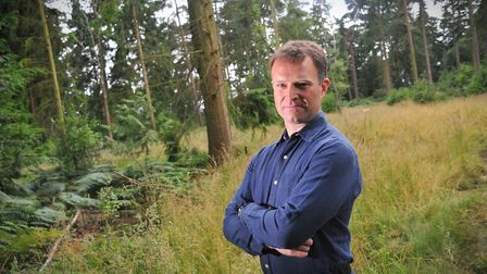 Jason Beckett, treasurer for The Friends of Thorpe Woodlands, in Thorpe woods which are under threat