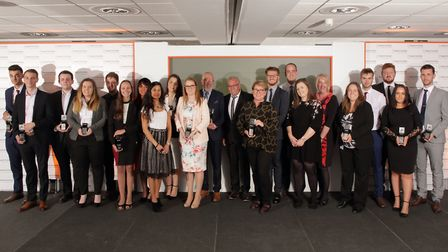 The finalists and winners with employers at the 2018 National Apprenticeship Awards' regional ceremo