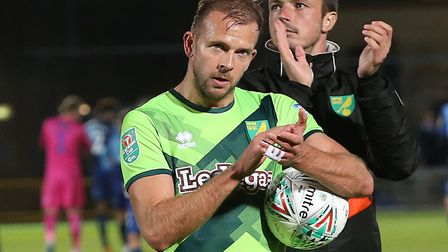 Jordan Rhodes took home the match ball after a hat-trick at Wycombe for Norwich Picture: Paul Cheste