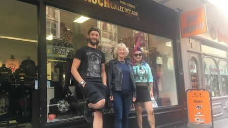 Alex Hackett, Mo Walker and Toyiah Adams ooutside the newly opened Rock Collection in Norwich. PIC: