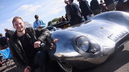 Jack Booen with his father's 1957 sports racing Lotus 11 at the 70th anniversary of Lotus event. Pic
