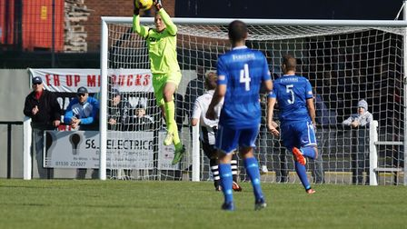 Elvijs Putnins' performance helped keep the score down to 1-0 for Lowestoft at Coalville. Picture: S